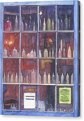 95   French Quarter Window With Bottles Canvas Print by John Boles