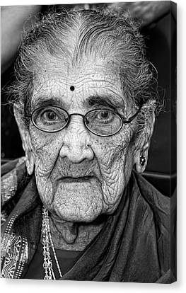 96 Year Old Indian Woman India Day Parade Nyc 2011 Canvas Print by Robert Ullmann