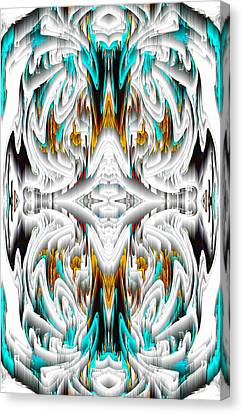 Canvas Print featuring the digital art 992.042212mirror2ornategoldablue-1 by Kris Haas