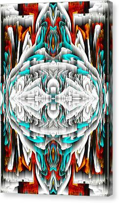 Canvas Print featuring the digital art 992.042212mirror2ornateredablue-1 by Kris Haas