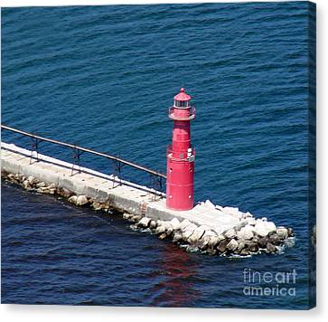 Canvas Print featuring the photograph A-004 Algoma Lighthouse Wisconsin by Bill Lang