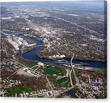 Canvas Print featuring the photograph A-009 Appleton Wisconsin Downtown by Bill Lang