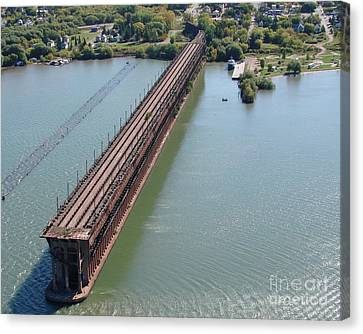 Canvas Print featuring the photograph A-010 Ashland Wisconsin Ore Dock by Bill Lang