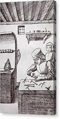 A 15th Century Locksmith Or Goldsmith Canvas Print by Vintage Design Pics