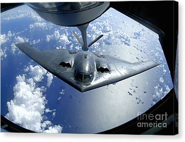A B-2 Spirit Moves Into Position Canvas Print by Stocktrek Images
