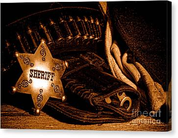 A Badge And A Weapon - Sepia Canvas Print