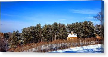 Maine Barns Canvas Print - A Barn In The Snow In Maine by Olivier Le Queinec