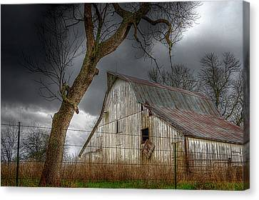 A Barn In The Storm 2 Canvas Print by Karen McKenzie McAdoo