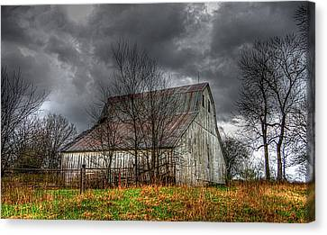 A Barn In The Storm 3 Canvas Print by Karen McKenzie McAdoo