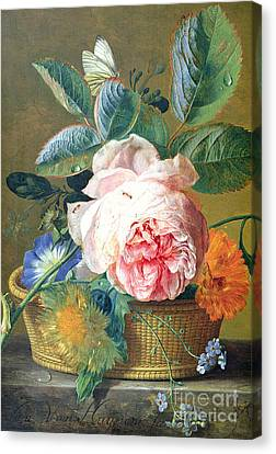 Ant Canvas Print - A Basket With Flowers by Jan van Huysum