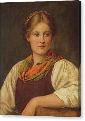 A Bavarian Peasant Girl Canvas Print by Franz von Defregger