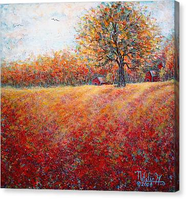 Canvas Print featuring the painting A Beautiful Autumn Day by Natalie Holland