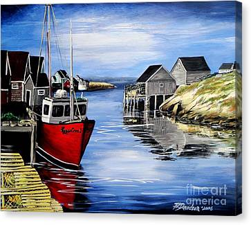 Canvas Print featuring the painting A Beautiful Day At Peggy's Cove  by Patricia L Davidson