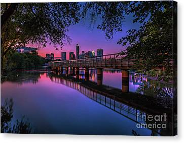 A Beautiful Vibrant Pink Sunset Falls On The Austin Skyline As Seen From The The Boardwalk Trail At Lady Bird Lake Canvas Print
