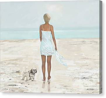 Canvas Print featuring the painting A Beautiful Walk by Leslie Allen