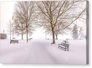 Canvas Print featuring the photograph A Beautiful Winter's Morning  by John Poon