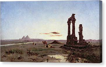 A Bedouin Encampment By A Ruined Temple  Canvas Print by Alexandre Gabriel Decamps