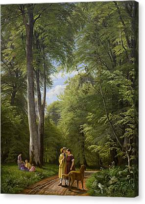 Walking The Dog Canvas Print - A Beech Wood In May Near Iselingen Manor by Peter Christian Skovgaard