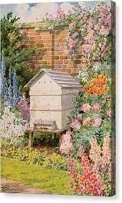Foxglove Flowers Canvas Print - A Beehive by Louis Fairfax Muckley