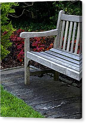 A Bench In The Garden Canvas Print
