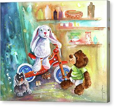 Toy Shop Canvas Print - A Bike For Cousin Marlon Blanco by Miki De Goodaboom