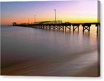 Canvas Print featuring the photograph A Biloxi Pier Sunset - Mississippi - Gulf Coast by Jason Politte