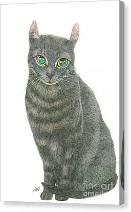 A Black Cat Canvas Print by Jingfen Hwu