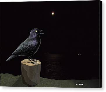 A Blackbird Singing In The Dead Of Night Canvas Print