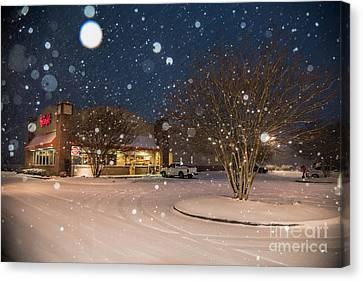 A Blizzard At Bojangles Canvas Print by Robert Loe