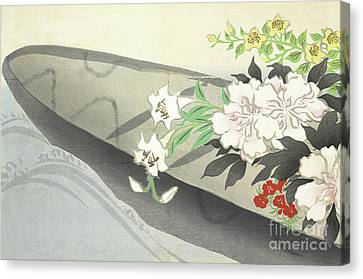 A Boat Filled With Flowers Canvas Print