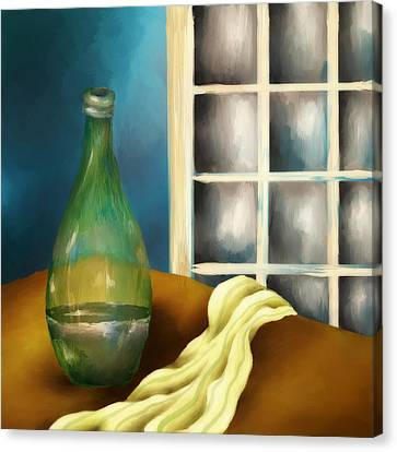 Glass Table Reflection Canvas Print - A Bottle And A Towel by Brenda Bryant