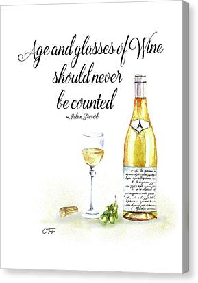 A Bottle Of White Wine Canvas Print by Colleen Taylor