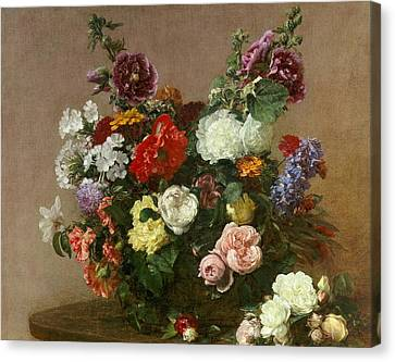 A Bouquet Of Mixed Flowers Canvas Print by Ignace Henri Jean Fantin-Latour