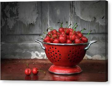 Sour Canvas Print - A Bowl Of Cherries by Lori Deiter