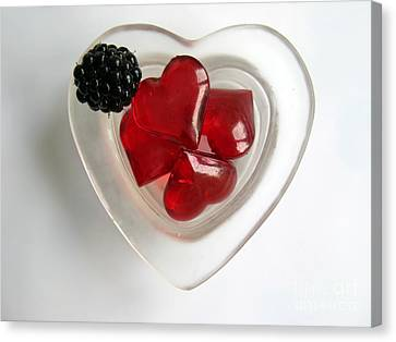 Canvas Print featuring the photograph A Bowl Of Hearts And A Blackberry by Ausra Huntington nee Paulauskaite