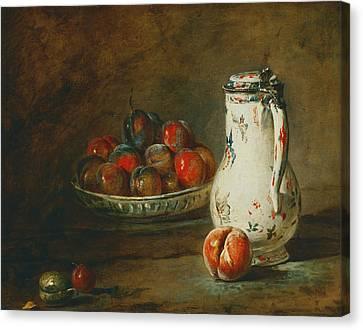 A Bowl Of Plums Canvas Print by Jean-Baptiste-Simeon Chardin