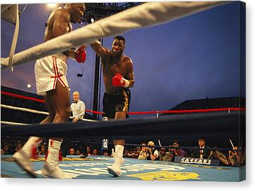 A Boxer Delivers A Punch Canvas Print by Maria Stenzel