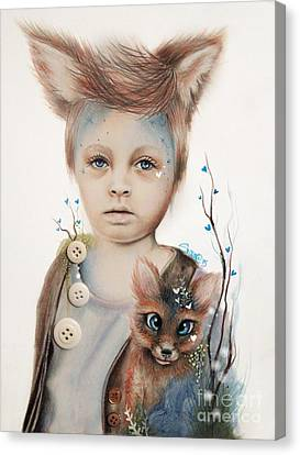 Canvas Print featuring the drawing A Boy And His Fox   by Sheena Pike
