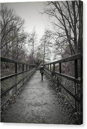 A Boy On A Bridge  Canvas Print