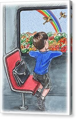A Boy On The Bus Canvas Print by Irina Sztukowski