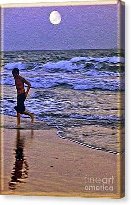 A Boy's Beach Run Canvas Print