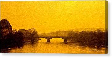 A Bridge In Praha Canvas Print by Robert Meyerson