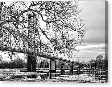 A Bridge In Winter Canvas Print by Olivier Le Queinec