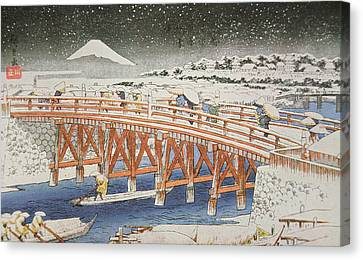 Snowy Night Night Canvas Print - A Bridge In Yedo With Mount Fuji In The Background by Hiroshige