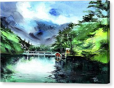 Canvas Print featuring the painting A Bridge Not Too Far by Anil Nene