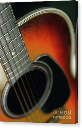 Canvas Print featuring the photograph  Guitar  Acoustic Close Up by Bruce Stanfield