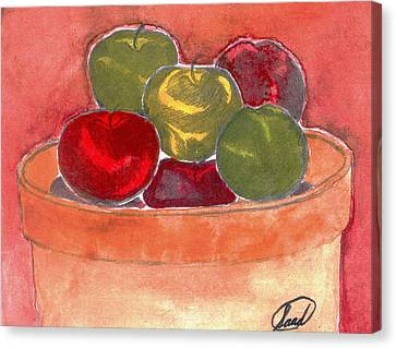 Canvas Print featuring the painting A Bucket Full Of Apples by Saad Hasnain