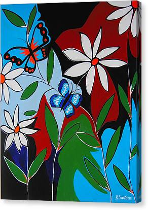 Canvas Print featuring the painting A Butterflies Paradise by Kathleen Sartoris