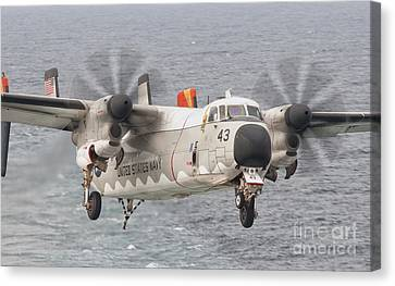Greyhound Canvas Print - A C-2a Greyhound Prepares For Landing by Giovanni Colla