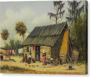 A Cabin Scene With Washing On The Fence Canvas Print by William Walker